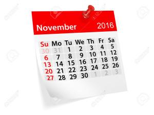 Monthly calendar for November 2016. 3d illustration