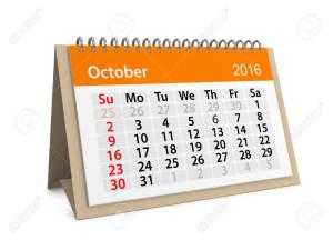 Monthly calendar for October 2016. 3d illustration